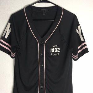 Forever 21 Women's NY Baseball Jersey Shirt Sz M